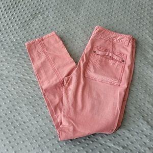 Free People Salmon Pink Moto Jeans sz 28